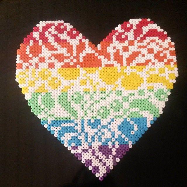 Rainbow heart hama perler beads by trine.tf