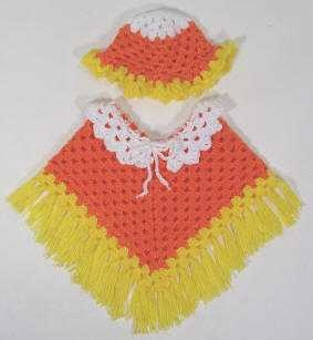 Hate the pattern, but love the inspiration of candy corn for poncho ! Wold make a fun Halloween costum!