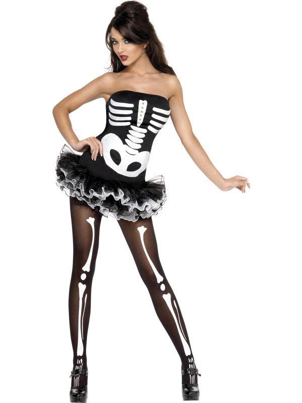 Sexy Halloween Skelett-Kostüm für Damen: Dieses sexy Skelett-Kostüm für Damen besteht aus einem vorne mit Knochen beflocktem Kleid, am Saumende befinden sich Rüschen aus schwarzem und weißem Tüll. Zwei transparente...