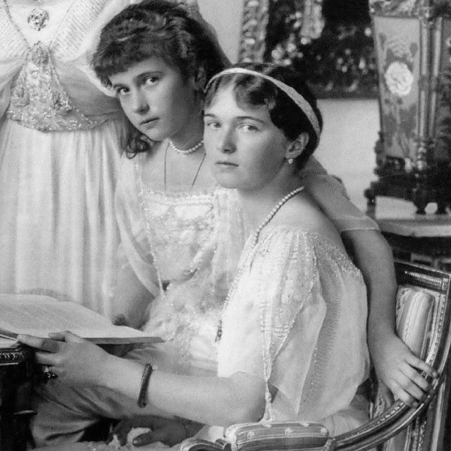 Grand Duchess Olga and Anastasia Nikolaevna, 1914 by house - of - romanov from Instagram