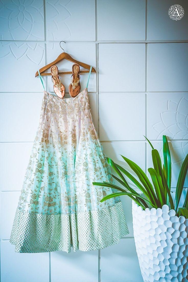 Mint blue bridal lehenga with gold zardozi work | weddingz.in | India's Largest Wedding Company | Wedding Venues, Vendors and Inspiration | Indian Wedding Bridal Jewellery Ideas |