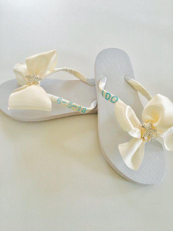 a3ee83b0f4a2ed Beach Wedding Shoes Bridal Flip Flops Wedding Flip Flops Wedding Shoes  Bridesmaid Shoes Decal Flip Flops White Flip Flops Bride Gifts