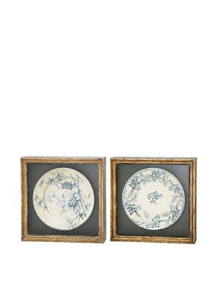 62% OFF Winward Set of 2 Assorted Framed Antiqued Plates I