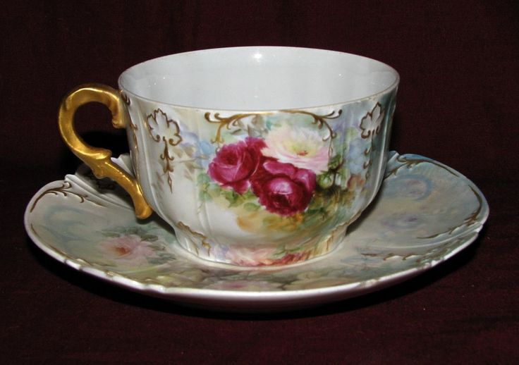 Charles Field Haviland Limoges china hand painted large cup & saucer
