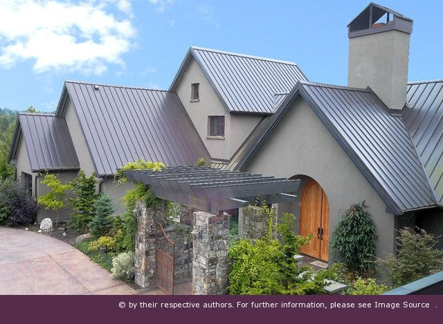 metal roof with stucco exterior paint gray roof pinning this for the color combination for. Black Bedroom Furniture Sets. Home Design Ideas