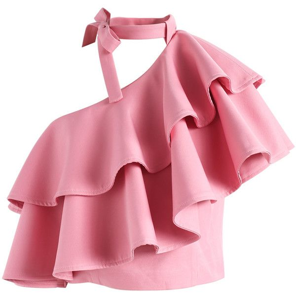 Chicwish Ritzy One-shoulder Ruffled Crop Top in Pink (805 MXN) ❤ liked on Polyvore featuring tops, pink, open shoulder top, one shoulder top, cut-out shoulder tops, one shoulder ruffle top and cold shoulder tops