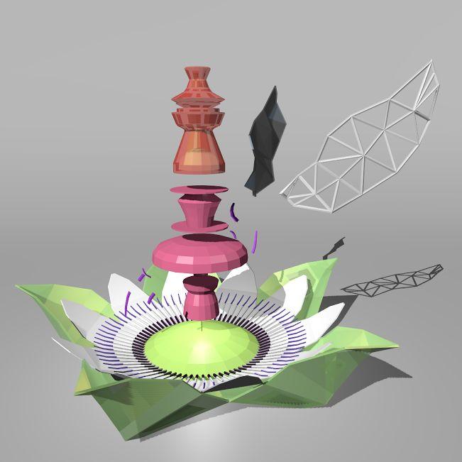 """Capture écran 3D : """"portrait social Çiçek—®—évolution"""" pour Norbert Hillaire / essai validé du 02/12 pour les couleurs..."""