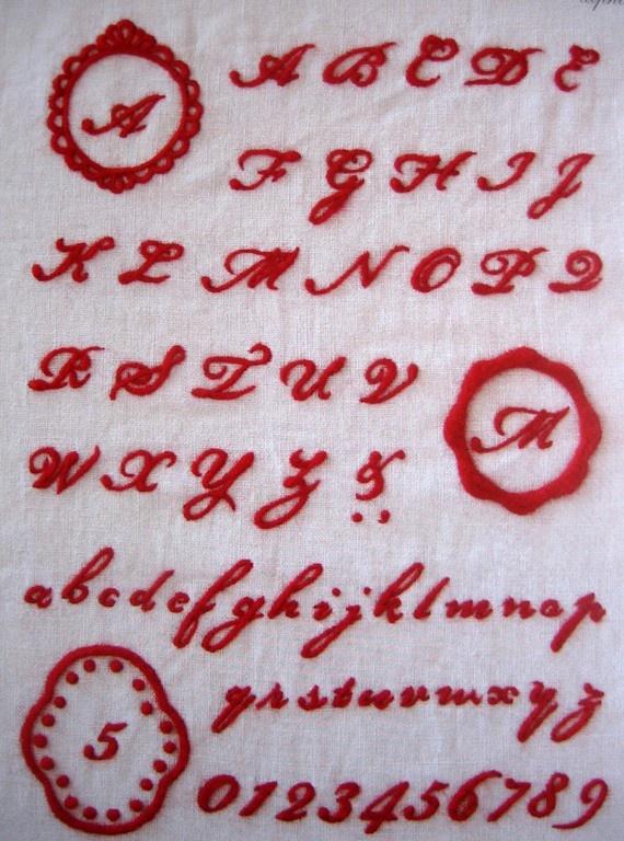japanese needlefelting pattern, alphabet set