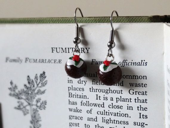 By the Shed Christmas Pudding DROP Earrings  Dangle Hanging