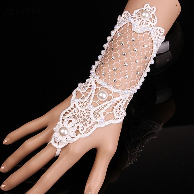 New Fashion Pearls Crystal Beaded Hollow Lace Bridal Gloves Fingerless Ivory Gloves Women Wedding Gloves guanti da sposa BV-035