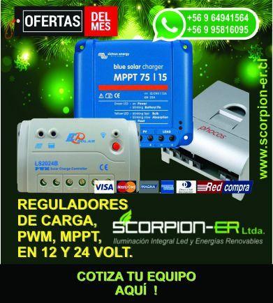Reguladores de carga PWM o MPPT de 12 y 24 volt cotiza sin compromiso o visítanos en www.scorpion-er.cl