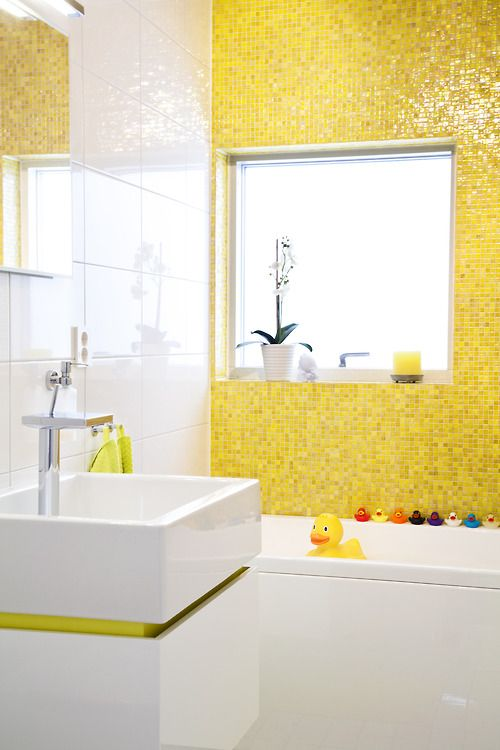 Yellow Tile, Rubber Duckies, Modern Sink. Fun Bathroom For A Kid OR Adult