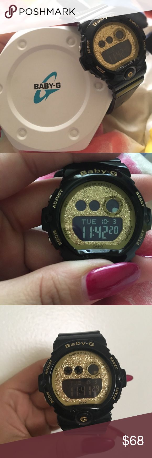 Baby g shock Black with gold glitter face baby g shock only wore a handful of times original box included baby G shock Accessories Watches