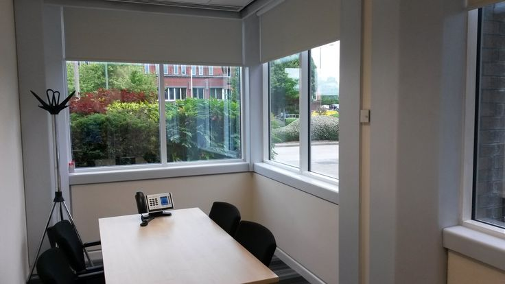 Office Roller Blinds White. Shade Control. Window Blinds