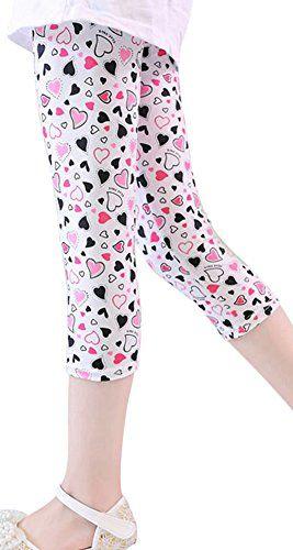 dcf4e411f4c2d TagoWell Kids Girls Flower Printing Capri Leggings Toddler Cropped Pants