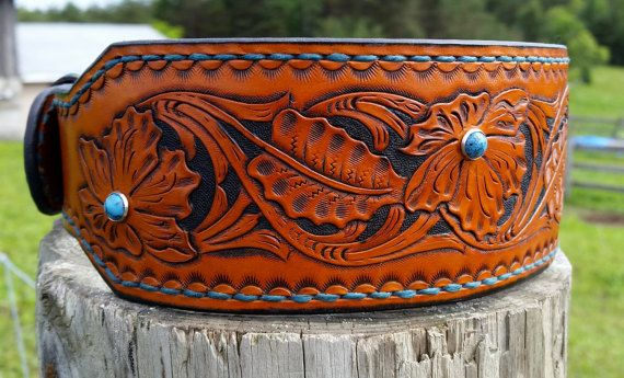 Western style leather tooled 2 1/2 inch dog by TMPLeatherworks