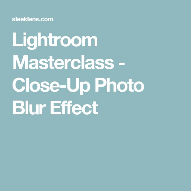Lightroom Masterclass - Close-Up Photo Blur Effect