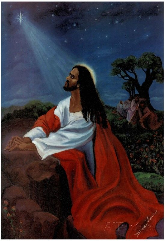 Black Jesus Christ Kneeling religious Print Poster 13 x 19in