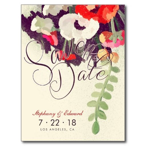"""この美しくロマンチックで、スタイリッシュで芸術的な保存を赤と白の多彩な花模様の元の絵画を特色にする日付の郵便はがきカスタマイズ。 裏側で言葉遣いはあります""""私達が結婚している! そしてあなたが日付(ここの日付を)私達の特別な日に共有ことできるために救うことができるようにたいと思います! 後を追うフォーマルな招待""""。 またあなた自身の単語のこの言葉遣いを変えることができます。 一致のスタンプおよび他のプロダクト: 結婚式招待状、RSVPカード、差出人住所ラベル、結婚式プログラムの棚カード、メッセージカード、救います日付カードをありがとうブライダルシャワーの招待状は次リンクで見つけることができます。"""
