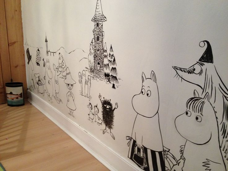 The Moomin wall in the girl's room is coming along. By Alex Milway