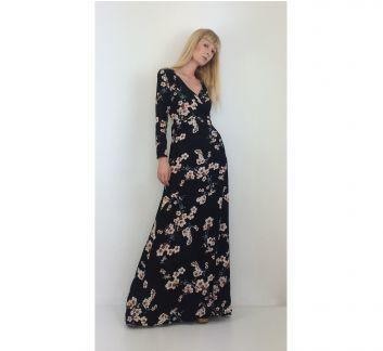 Siyah Çiçek Desenli Kruvaze Uzun Elbise Black Flower Patterned Cruise Long Dress