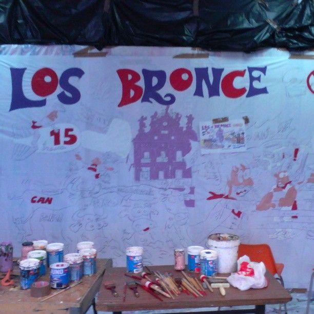 """Instagram photo by @rockflores via ink361.com First stage applying collour, """"pancarta"""" Peña Los de Bronce, San Fermin 2013."""