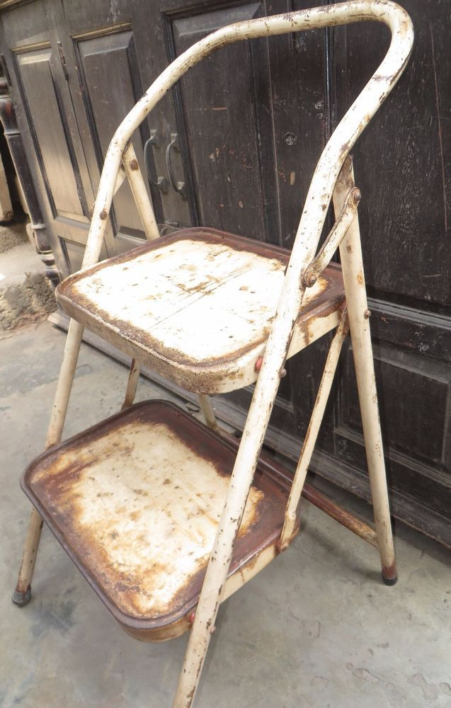 Vintage Iron FOLDING Ladder RACK step Display Multi use Sitting chair type India #Unbranded