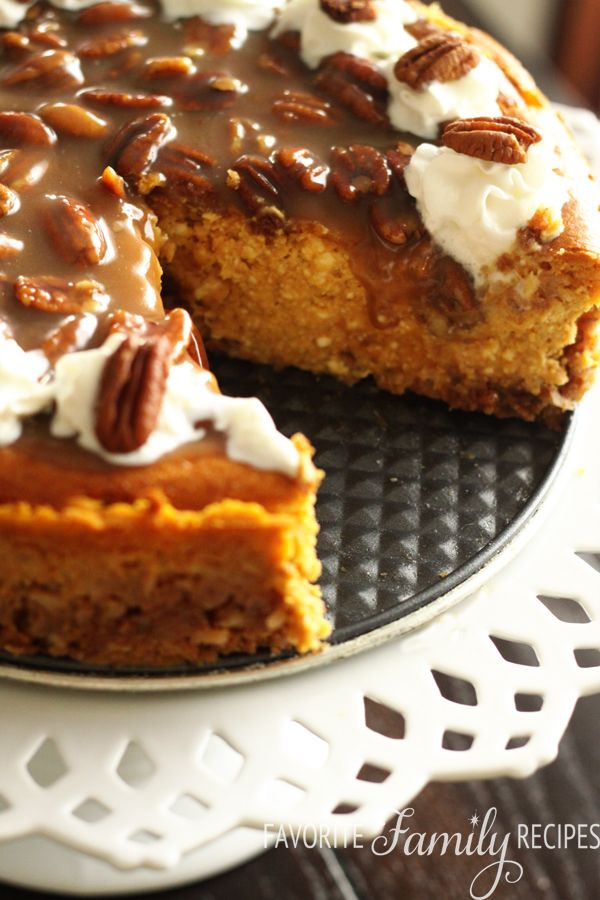 Pumpkin Cheesecake with Praline Pecan Topping