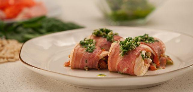 Rolinhos de Peru com Tomate e Bacon no Continente ChefOnline - chef.continente.pt