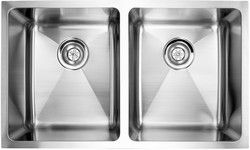 """fluid Model UDR3219 Undermount Double Bowl Stainless Steel Kitchen Sink - Overall Size 32"""" x 19"""" x 9"""""""