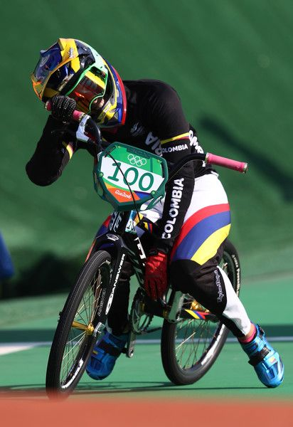 Mariana Pajon of Colombia celebrates after winning the gold during the Women's Final on day 14 of the Rio 2016 Olympic Games at the Olympic BMX Centre on August 19, 2016 in Rio de Janeiro, Brazil.