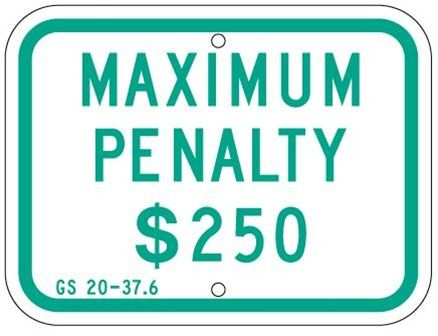 STATE SPECIFIED N. CAROLINA ADA HANDICAP PENALTY FINE Sign