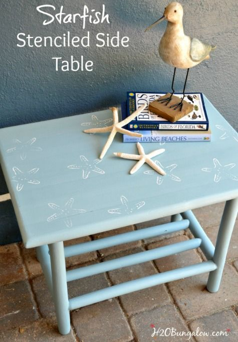 Coastal Stencil Furniture Makeovers.... http://www.completely-coastal.com/2017/05/furniture-makeovers-with-stencils.html Starfish stencil to coastalize a table top!