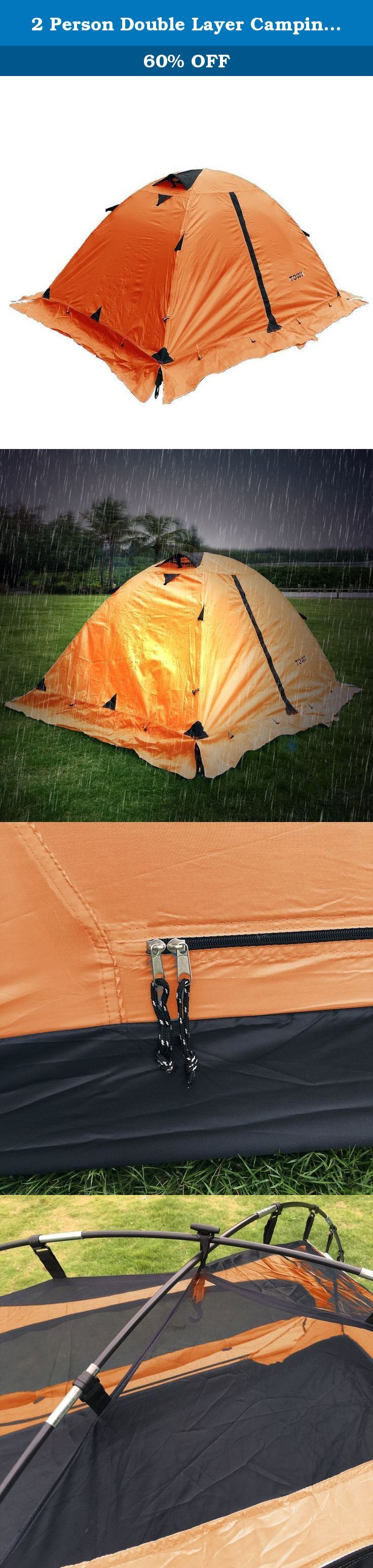 2 Person Double Layer Camping Hiking Waterproof Backpack Tent w/ Rainfly & Skirt (Orange). Easy to Set up And good for 2 person 4 season use.
