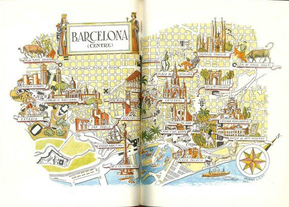 Barcelona Map Print Vintage City of Barcelona Spain Map World