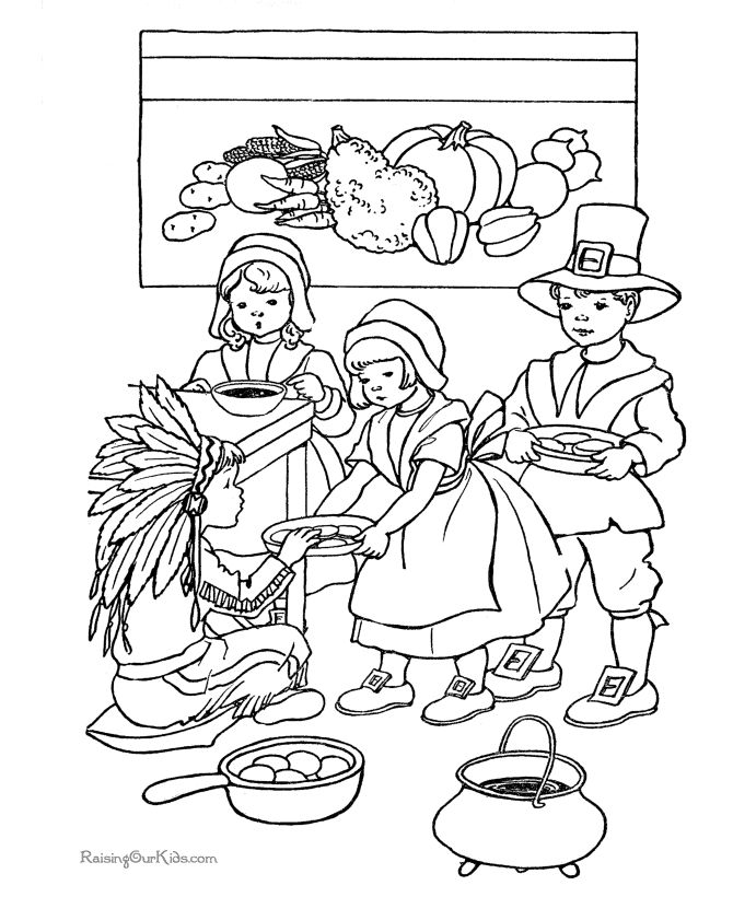 Thanksgiving Kids Coloring Pages