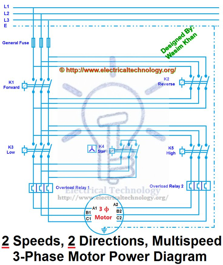 Two Speeds Two Directions Motor Control Power Diagram