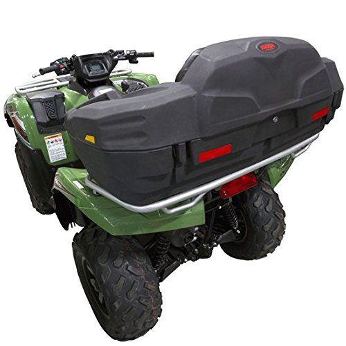 ATV Lounger Rear Storage Box & Seat  Haul extra gear and equipment with the ATV-CB-L7500 cargo box, a weather resistant, organized, (3) compartment storage solution for rear ATV racks. Each rear ATV cargo box features a built-in cushioned seat with arm rest areas for lounging during rider rest periods. Cargo hold is accessible from the rear with a flip-up lockable lid.     The ATV Lounger includes (2) keys for the locking lid, safety reflectors, and (4) U-Bolts for mounting to ATV ra..