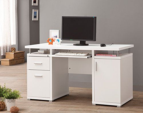 #homebar #design This white computer desk combines a sleek, contemporary look with practical storage for your #home office. It features two storage drawers in on...