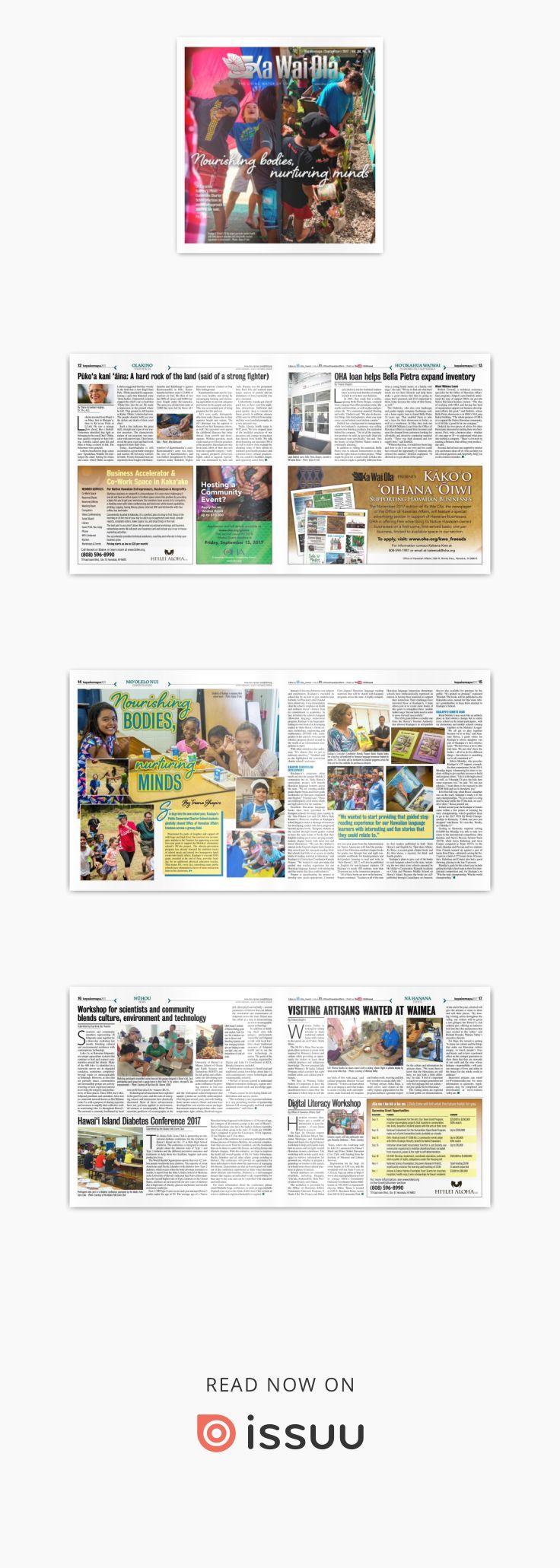 KWO - September 2017   Vol. 34, No. 9  Nourishing bodies, nurturing minds. OHA grantee Kualapu'u Conversion Charter School practices an innovative approach to teaching keiki.