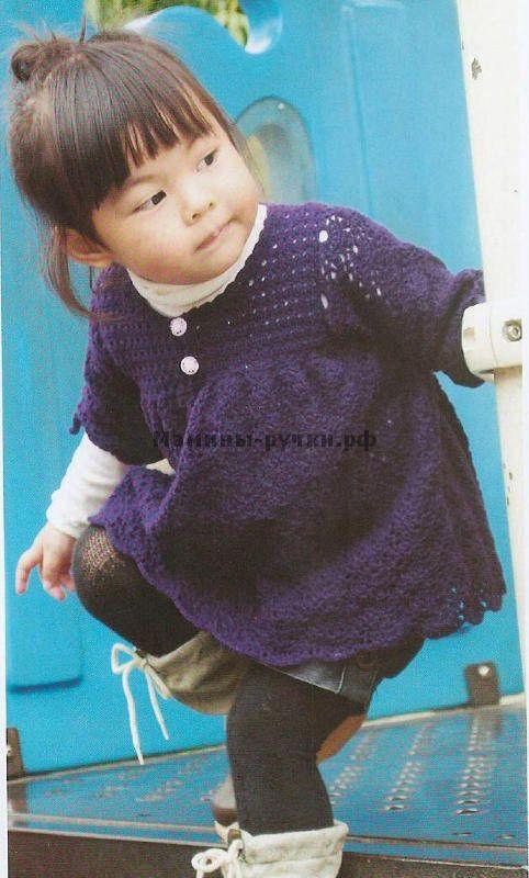 Вязаная крючком детская туника с длинным рукавом (children tunic crochet)