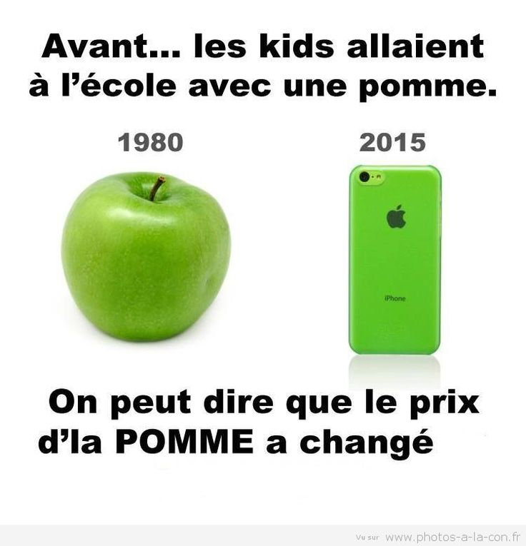 In the past... The kids went to school with an apple (1980). You could say that the price of an apple (2015) has changed :) Funny #French joke. #blague française.