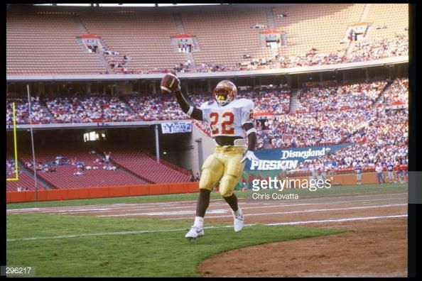 Edgar Bennett of the Florida State Seminoles poses for a picture before the Pigskin Classic against the Brigham Young Cougars at Anaheim Stadium in Anaheim, California. Florida State won the game...