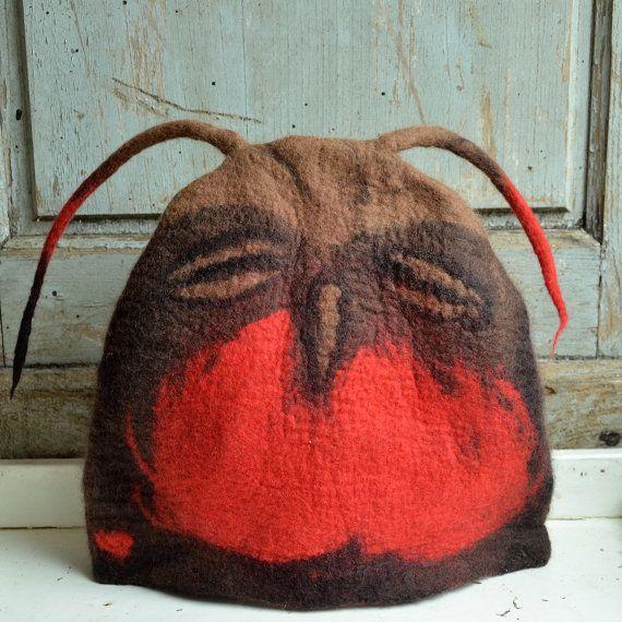 Felted teapot cozy felt owl tea cozy teapot cosy Art tea by jannio