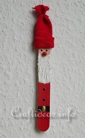 Christmas Craft for Kids - Craft Stick Crafts - Santa Claus Ornament