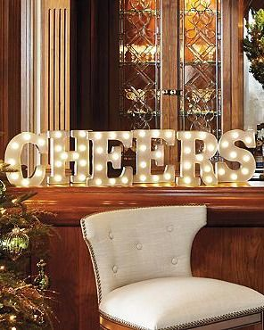 Cheers to joyful holidays and a happy new year with the Marquee Letters: CHEERS; perfect for holiday parties.