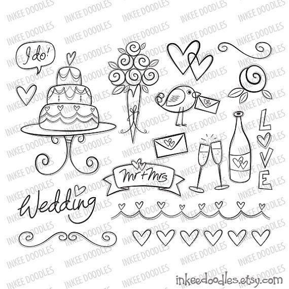 17 piezas de novia lindos garabatos! Incluye torta de boda de novia flores, aves, corazones, botella de champagne y vidrios, título texto y voluta