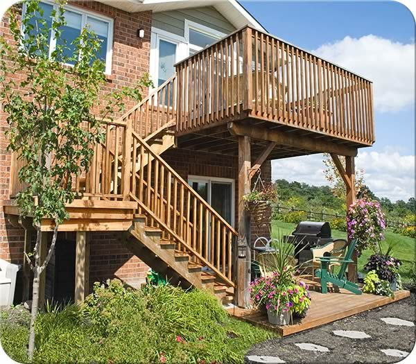99 best images about deck stairs on pinterest wood decks for Second story decks with stairs