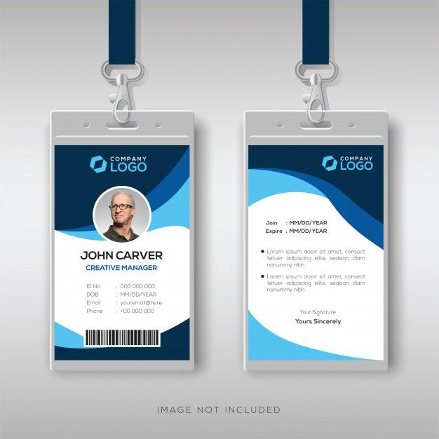 Stylish Id Card With Blue Details Id Card Template Identity Card Design Graphic Design Business Card