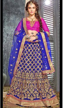 Blue Color Jacquard Silk A Line Style Lehenga Choli | FH586586335
